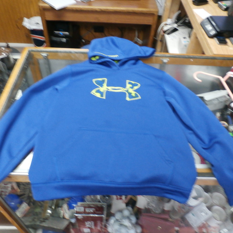 Rating: (see below) 3- Good Condition<br /> Team: N/A<br /> Player: N/A<br /> Brand: Under Armour<br /> Size: YOUTH - Large  (Measured Flat: chest 18.5&quot;, length 22&quot;)<br /> Color: Blue<br /> Style: Hooded sweatshirt; Pockets; no drawstring; embroidered logo; Loose Fit&#039; Camo interior hood<br /> Material: Missing tag<br /> Condition: 3 - Good Condition; wrinkled; missing material tag; pilling and fuzz; snags front and back; light stains center of the front and sleeve ends; no rips or holes