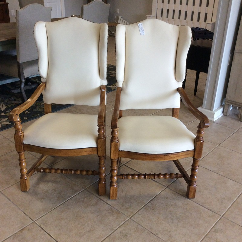 This pretty little duo is from DREXEL HERITAGE. As such, you know the quality is top notch! They feature solid wood construction, with handsome carved details and a rich walnut finish. They are upholstered in a creamy white muslin and have literally hundreds of nailhead accents on each chair! ONLY $295 for the pair!