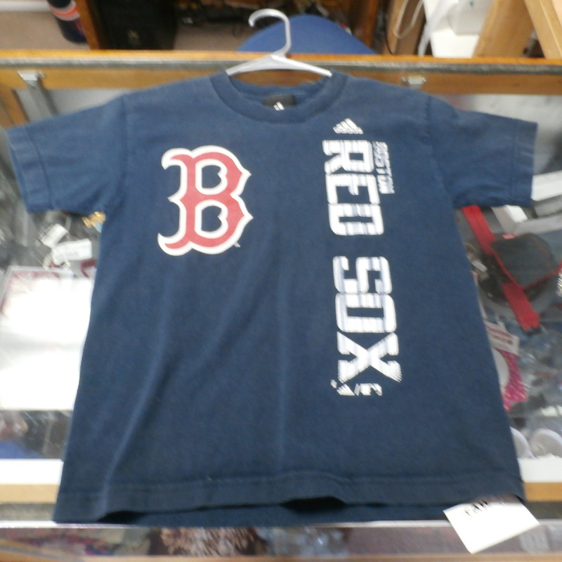 "Boston Red Sox YOUTH Adidas T-shirt blue size tag missing (16"" x 21"") #23521<br /> Rating: (see below) 4- Fair Condition<br /> Team: Boston Red Sox<br /> Player: Team<br /> Brand: Adidas<br /> Size: YOUTH; tag missing- (Measured Flat: chest 16"", length 21"") armpit to armpit and shoulder to hem<br /> Color: blue<br /> Style: short sleeve; screen printed<br /> Material: tag missing<br /> Condition: 4- Fair Condition; wrinkled; lots of pilling and fuzz; material is stretched and worn from wearing and washing; noticeable discoloration and fading; small hole in right armpit; screen printing is worn and faded; large faded patch on lower left back (see photos)<br /> Item #: 23521<br /> Shipping: FREE"