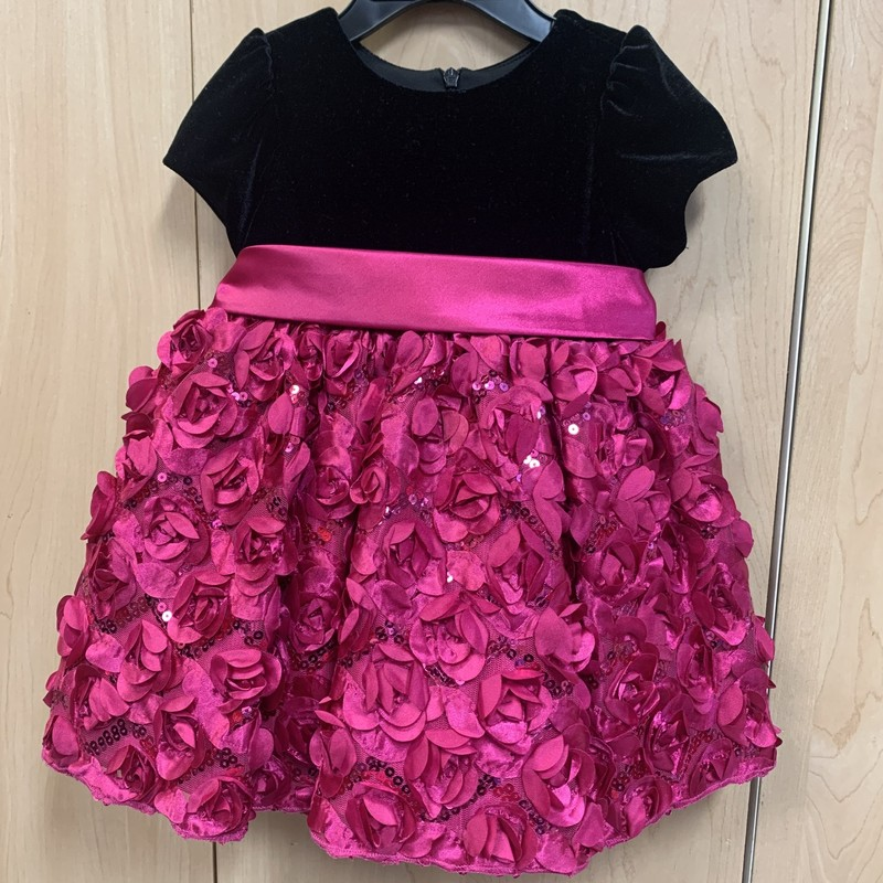 Pink skirt with ruffled red roses and a full liner<br /> A red ribbon sash around the waist<br /> Black velvet short sleeve top<br /> Comes with matching bloomers<br /> Gently used and in excellent conditio