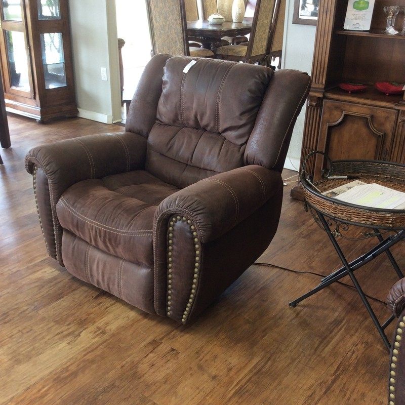 Hey, as long as you're social distancing you may as well do it in this Flexsteel Microfiber Recliner!  It's over-sized, over-stuffed delishiousness! Upholstered in a rich, dark brown microfiber with a big, bold nailhead trim. Best of all, we have 2 of them! Electric operation.