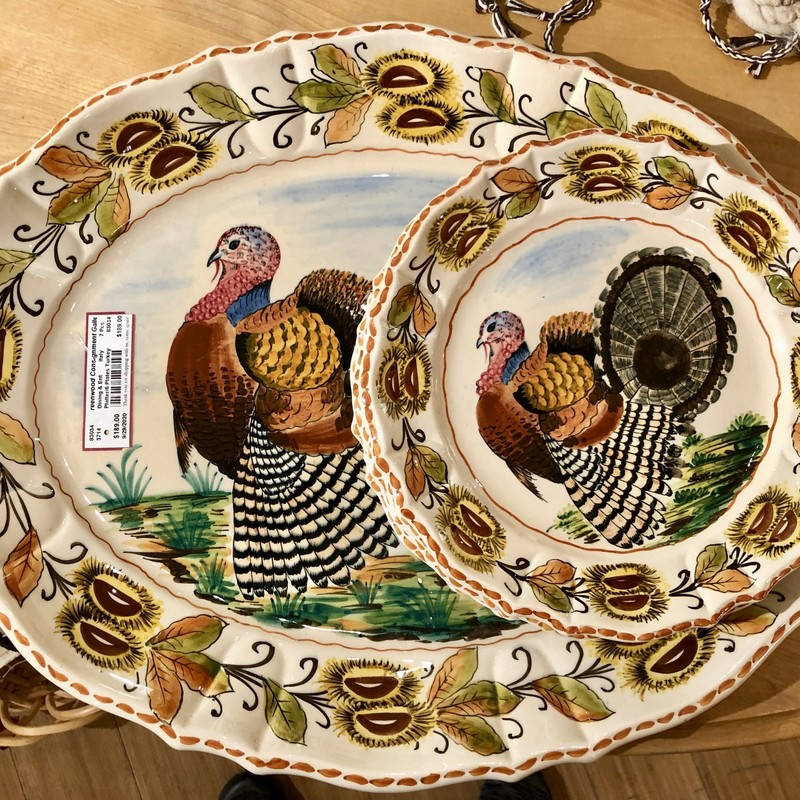 Turkey Platter & 6 Dinner Plates, Italy,  7 Pcs