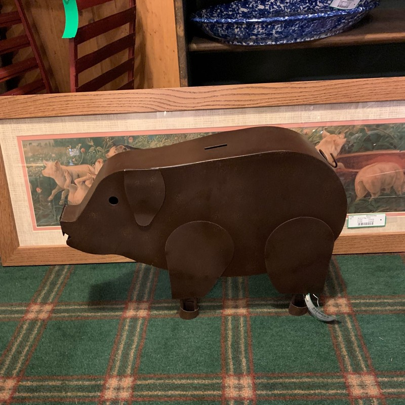 Large Metal Pig,<br /> Size: 19.5x5x14<br /> Cute addition to your home and can be used as a piggy bank.