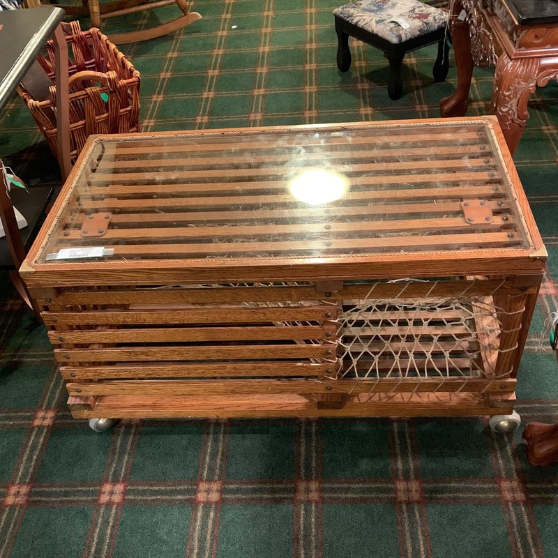 Lobster Pot Coffee Table,<br />  Size: 36x20x17.5<br /> This lobster pot was made at a correctional facility in Maine 25 years ago  It is made of oak with netting inside and it is on casters  the tray on top lifts off.  Its in wonderful condition.