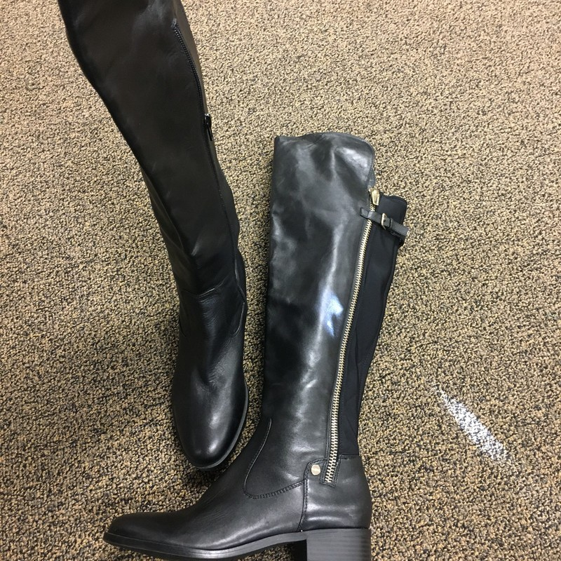 Tall Leather Boots Over T, Blk, Size: 8M.  Nice over the knee boots with a fabric back for those who need a little give to cover their athletic calf.  For a snug fit.  Great style and design.