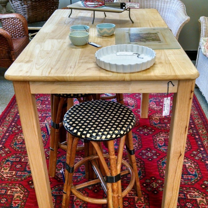 Parson&#039;s style tall table with an unfinished top treated with food grade butcher block oil so it would be great for prepping those chef worthy dishes!<br /> 30W x 48L x 36H