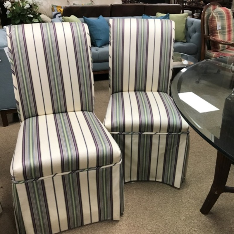 (6) Upholstered Chairs, Stripe