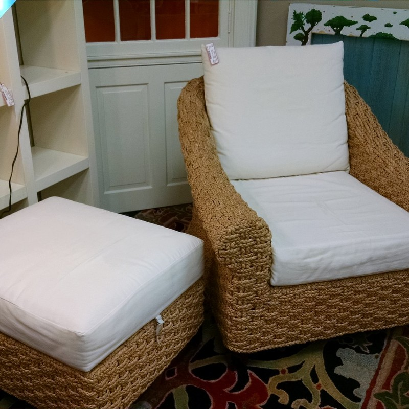 Pottery Barn rope chair with Ottoman