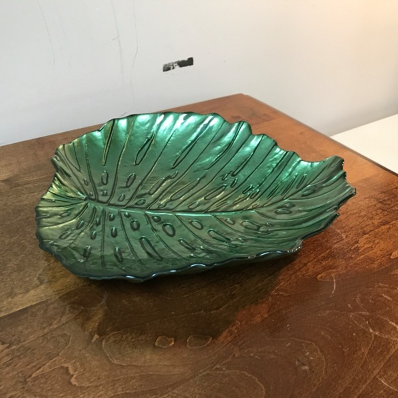 Decorative Leaf Bowl, Green, Size: 11x10