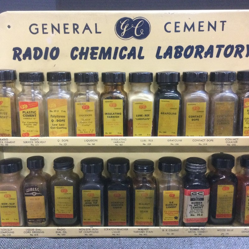 General Cement Radio Chemical Laboratory. Most all original bottles with case!