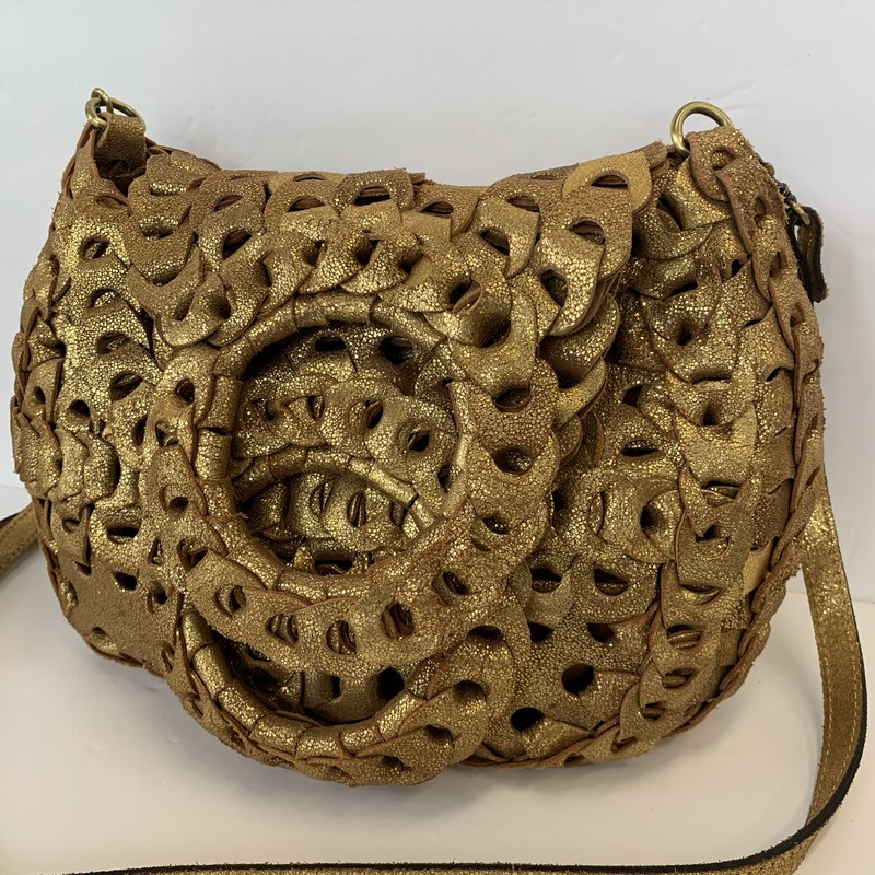 "Patricia Nash ""Ticci"" Bag<br /> Size: Crossbody<br /> Color: Gold"