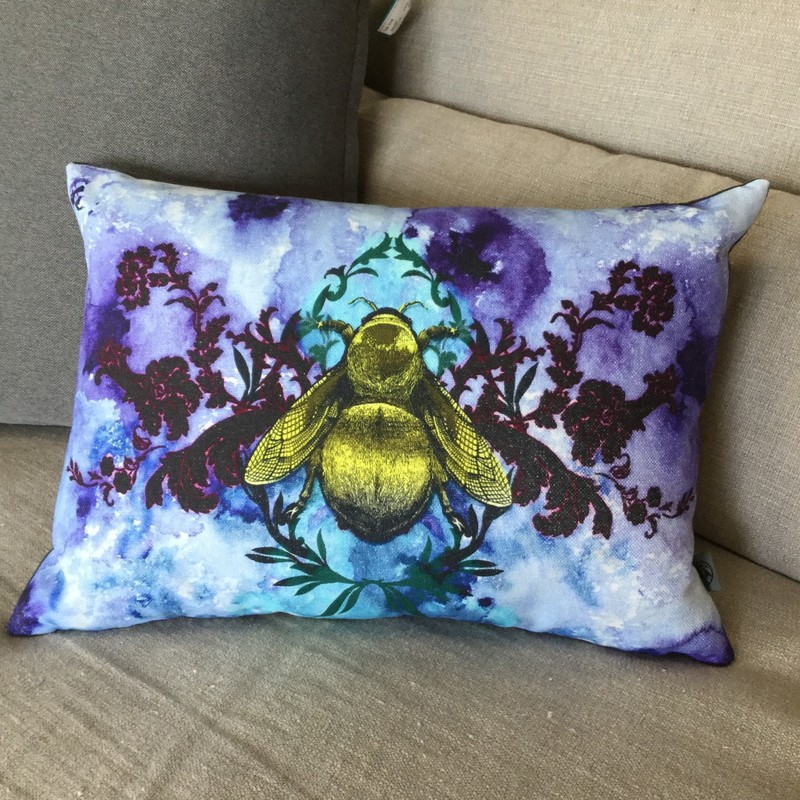 "Timorous Beasties Pillow, Blue Blotch Bee, 2 Available, Size: 17""X13"""