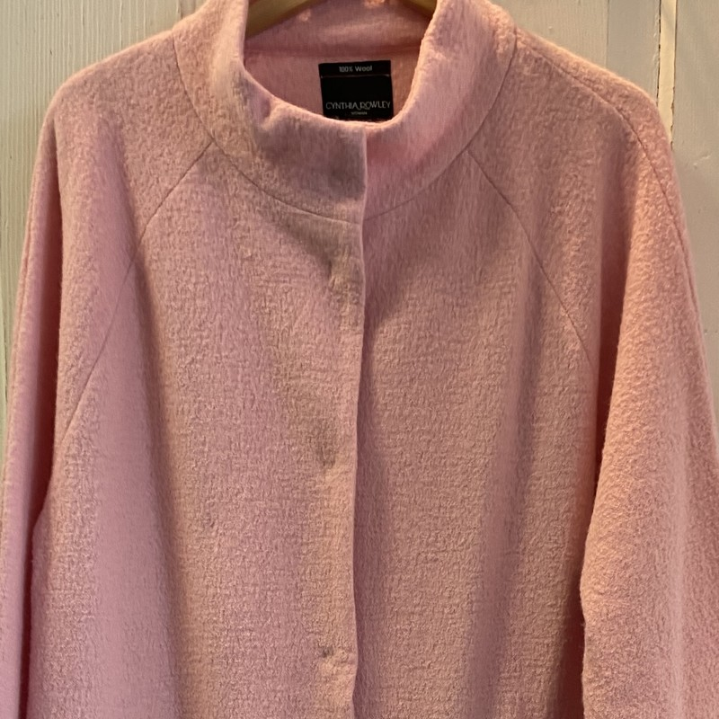 Pink Boiled Wool Coat.