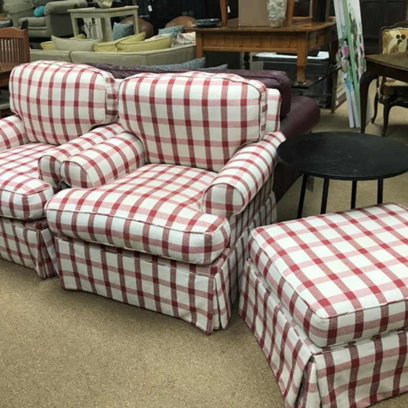 Plaid Chairs + Ottoman, Red, Size: 3-pc Set