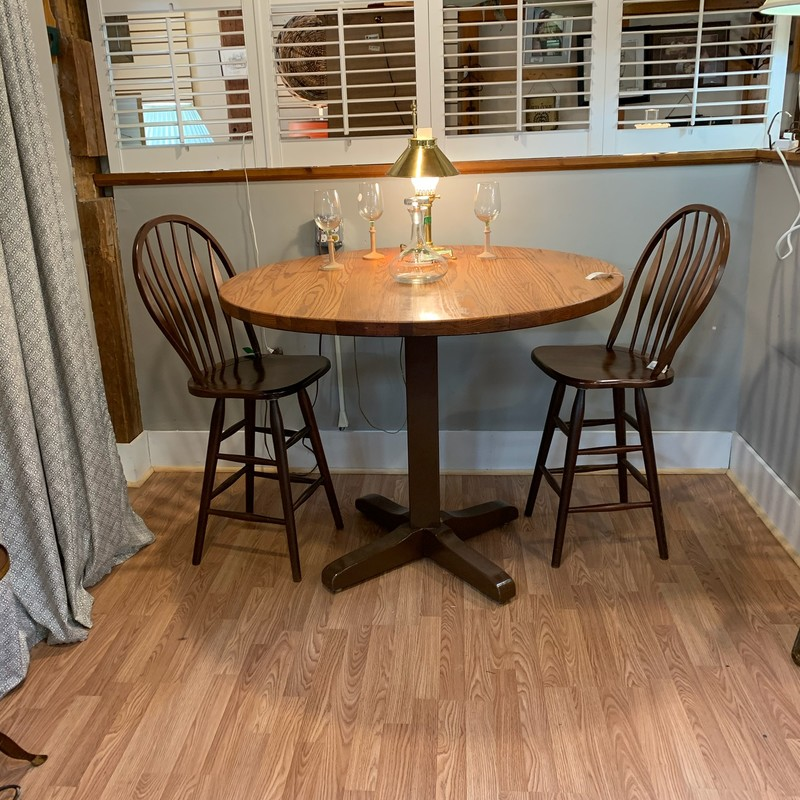 "High Top Oak Table<br /> Size: 47"" x 38""<br /> Sturdy pub style table with oak top.  Would be great for entertaining."