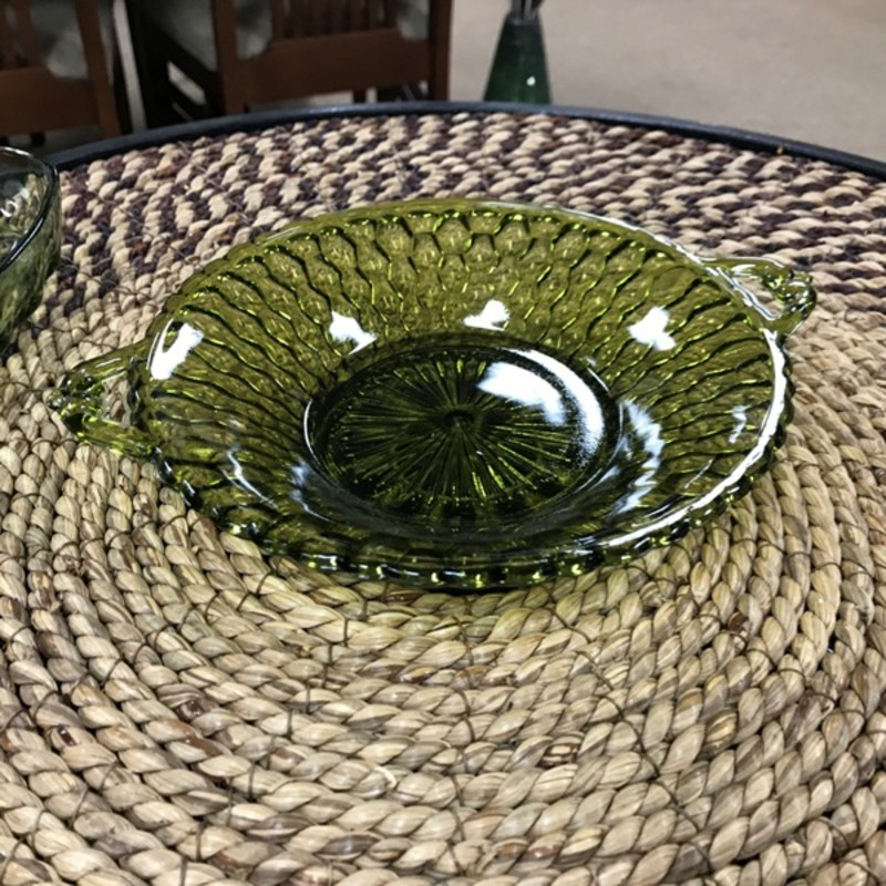Depression Glass Candy Dish, Green