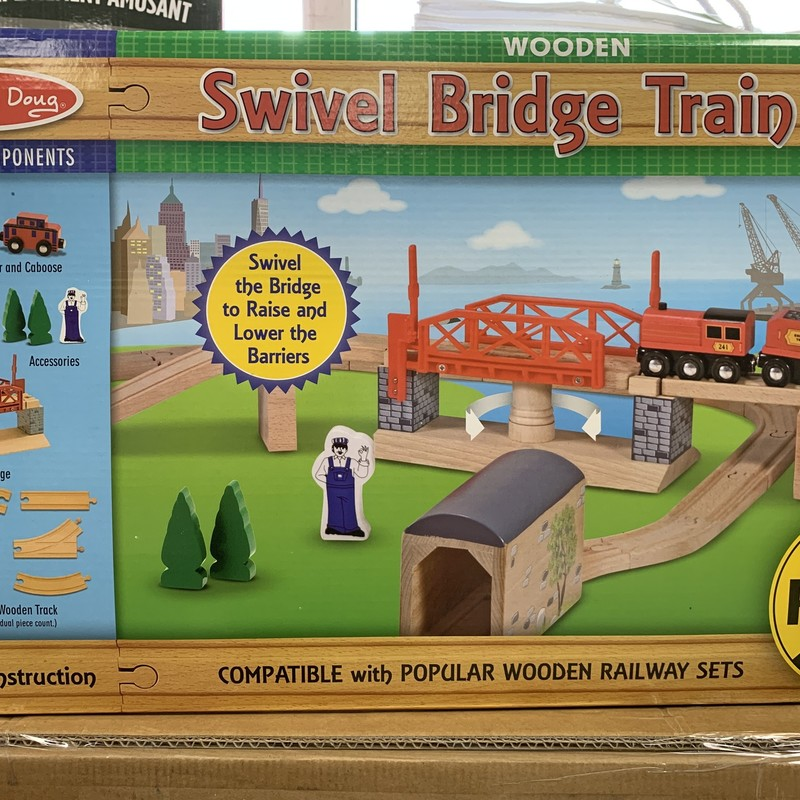 Swivel Bridge Train Set, Wood, Size: Train