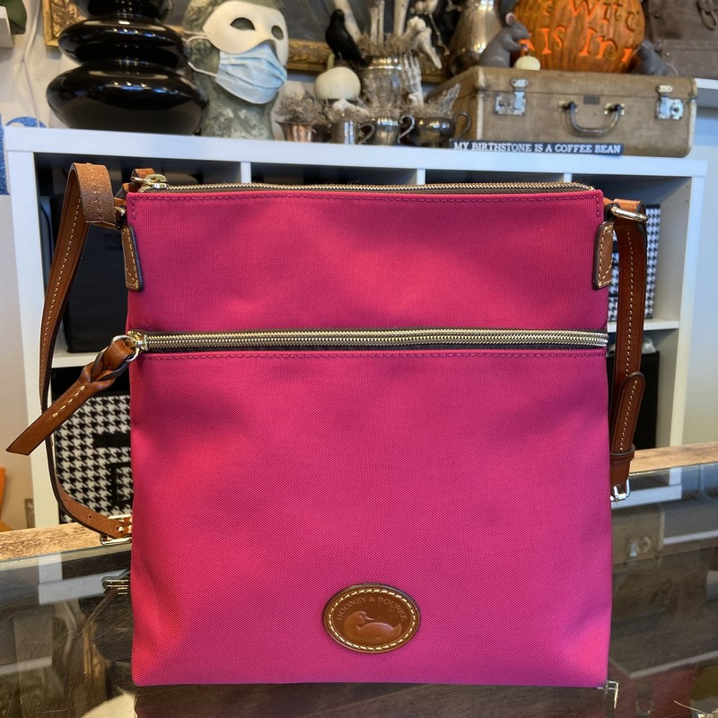 Fuschia Canvas/leather Pu.