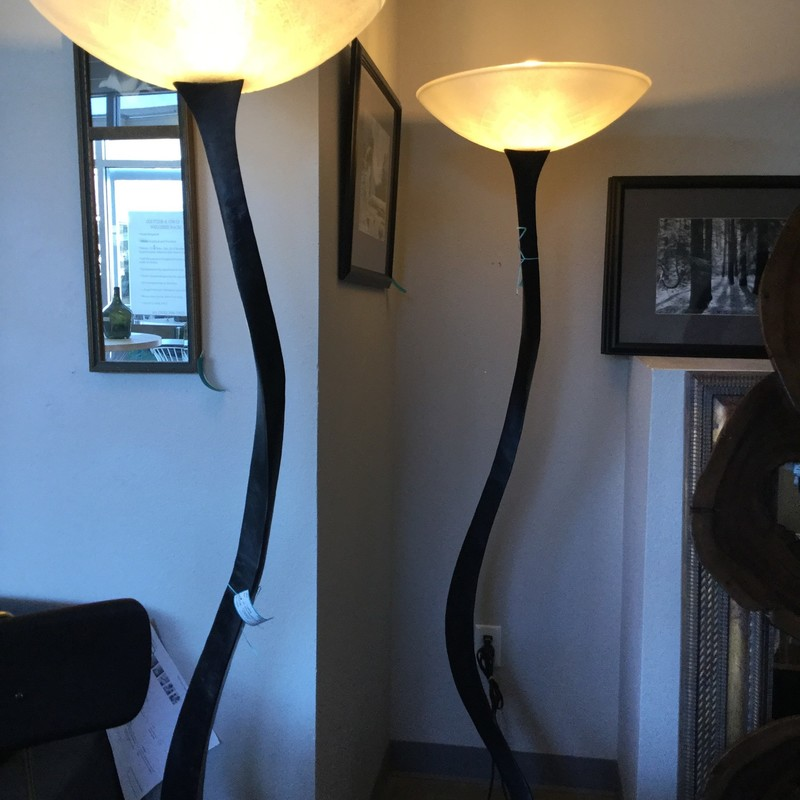Artsy Standing Lamp, Twisted Black Iron, 2 Available, Size: 72""