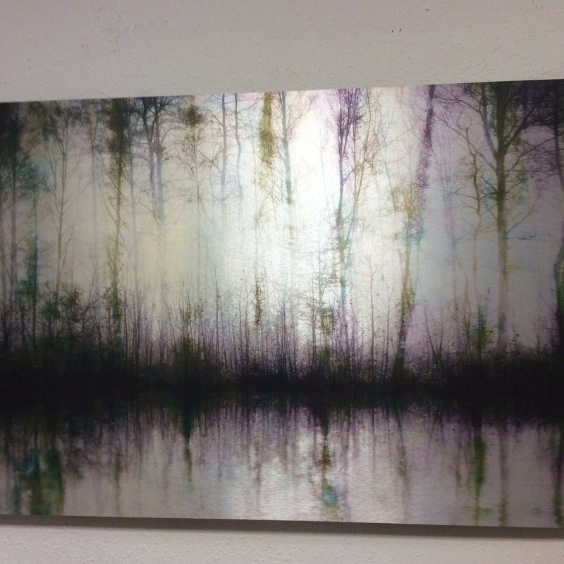 This extra large piece of wall art is actually a canvas wrap with a painted sheet of textured metal adhered to the front. It is an extremely unusual art form, and the result is spectaculsar. ONLY $295!