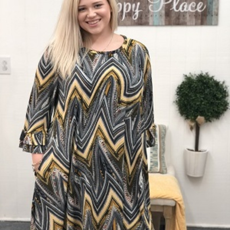 Avery looks outstanding in this Ruffle Sleeve Chevron Dress! This dress is made of 92% Polyester, 8% Spandex and it also has pockets! So if you are looking for the perfect dress for date night this is the dress for just that!