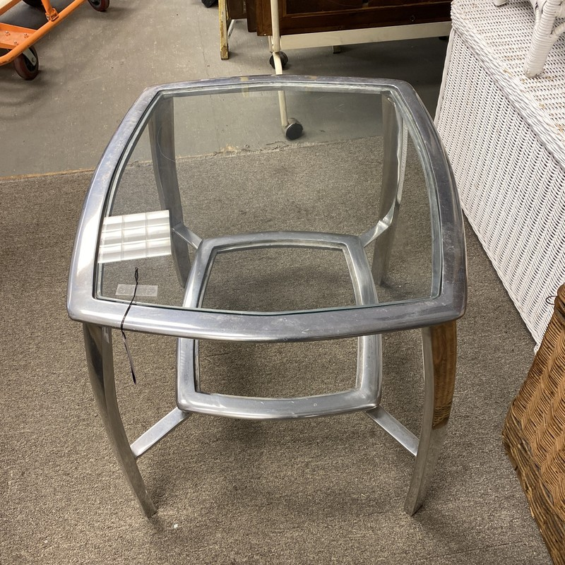 Metal & Glass Side Table, Silver, Size: 23x23x23