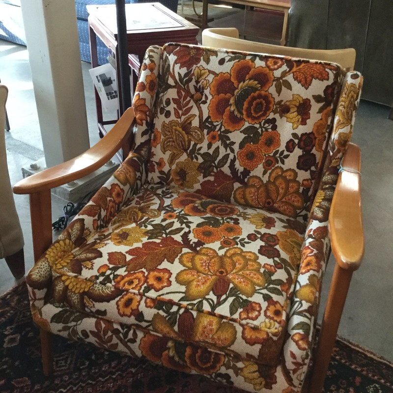 Mid Century Chair, Orange/brown, 2 Available
