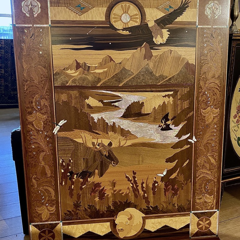 Gorgeous  Majestic Tetons inlay with Mother of Pearl, Size: 31x40