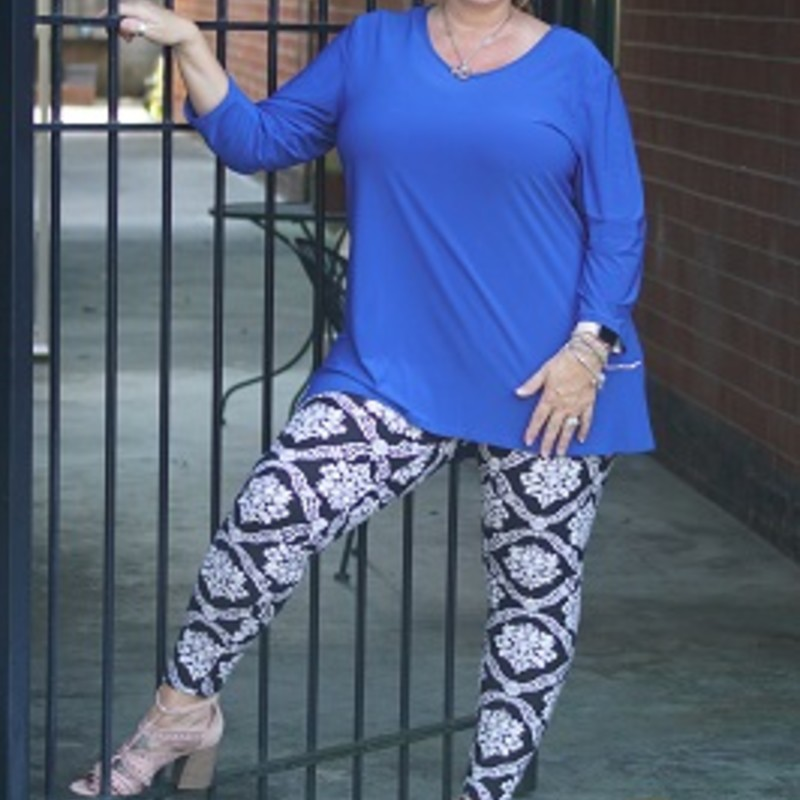 Purchase our Blue Ellen & Co Hi-Lo Tunic. It is a perfect color for fall. You can wear this gorgeous top to your family get togethers and parties. It has a length of 34in and is made of 95% Polyester,5% Spandex.