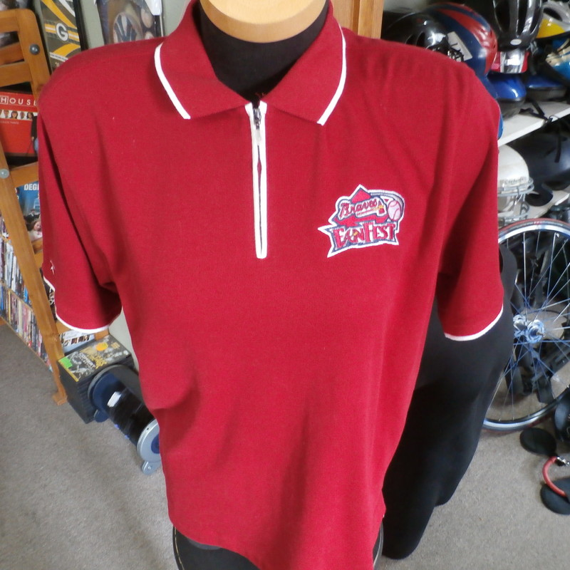 "Atlanta Braves Fan Fest women's polo shirt red size large cotton blend #23874<br /> Rating: (see below) 1- Excellent Condition<br /> Team: Atlanta Braves<br /> Player: Team<br /> Brand: Antigua<br /> Size: Women's Large-  (Measured: 23"" Wide, length 27"")<br /> Measured: Armpit to armpit; shoulder to hem<br /> Color: red<br /> Style: short sleeve; polo; embroidered<br /> Material: 62% cotton 38% polyester<br /> Condition: 1- Excellent Condition; wrinkled; no rips or tears; no stains; original tags still attached  (see photos)<br /> Item #: 23874<br /> Shipping: FREE"