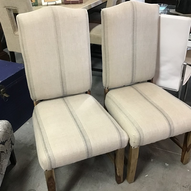 Set Of 2 Striped Chairs.