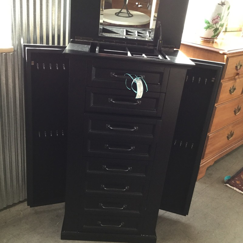 "8 Drawer Jewelry Cabinet, Wood, Size: 20""X12""X35"""