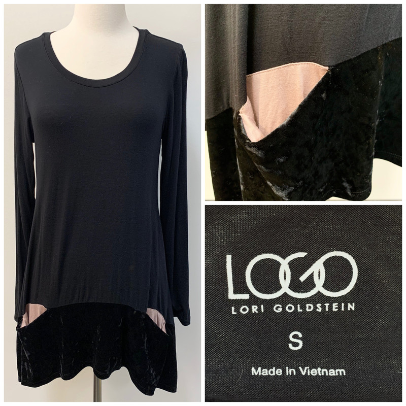 LOGO Pocket Tunic<br /> Velvet Trim<br /> Black<br /> Size: Small