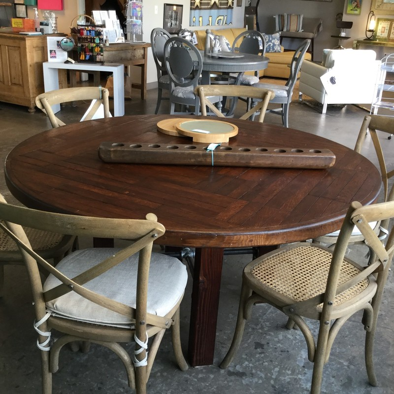 "Round Table, Planks, Belgium, Wood, Size: 60"" Round"