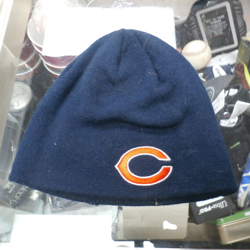 Chicago Bears Adult OSFM Beanie Blue #24059<br /> Rating: (see below) 4- Fair Condition<br /> Team: Chicago Bears<br /> Player: Team<br /> Brand: NFL Team Apparel<br /> Size: Adult OSFM-<br /> Color: Blue<br /> Style: beanie with embroidered logo;<br /> Material: 100% acrylic<br /> Condition: 4- Fair Condition; wrinkled; minor pilling; worn out from use; fuzz over the hat; discolored; stretched out from use; a small tear on the bottom edge<br /> Item #: 24059<br /> Shipping: FREE