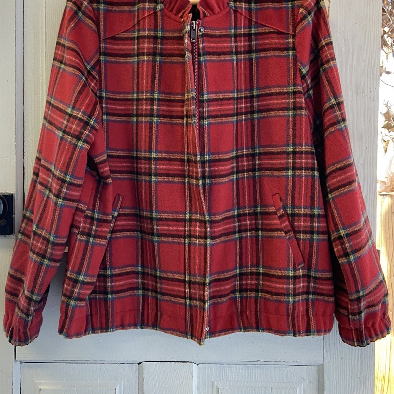 Red Plaid Wool Ruffle Jac.