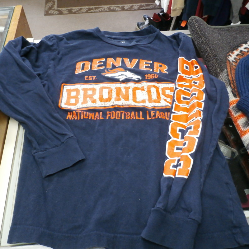 "Denver Broncos YOUTH Long sleeve shirt blue size L (10/12) 100% cotton #24053<br /> Rating: (see below) 3- Good Condition<br /> Team: Denver Broncos<br /> Player: Team<br /> Brand: NFL Team Apparel<br /> Size: Large 10-12 YOUTH-  (Measured: 16"" Chest,  21"" length)<br /> Color: Blue<br /> Style: long sleeve shirt; screen pressed<br /> Material: 100% cotton<br /> Condition: 3 - Good Condition; wrinkled; minor pilling; a few small snags; slightly stretched out from use; small light stain center front; small crack on the logo; material has a faded look<br /> Item #: 24053<br /> Shipping: FREE"