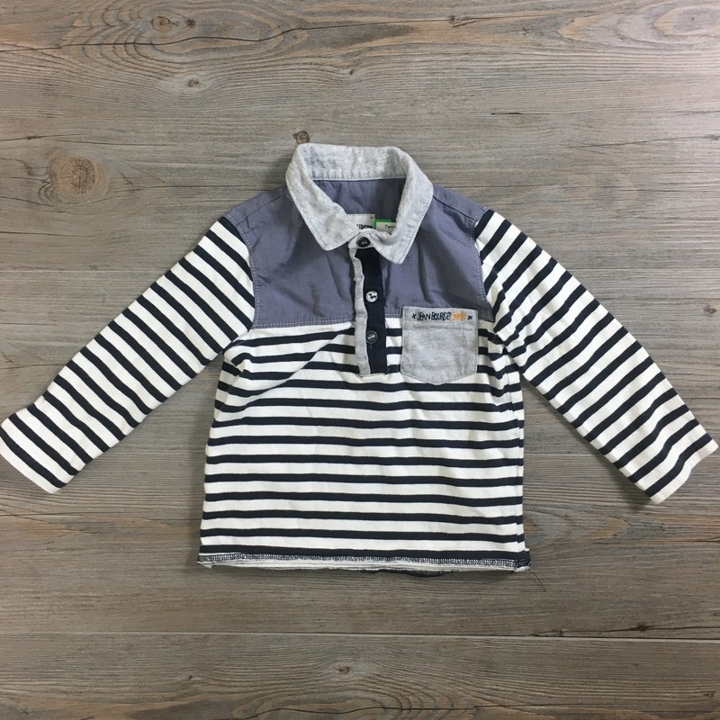 Jean Bourget Shirt/LS, Striped, Size: 2Y