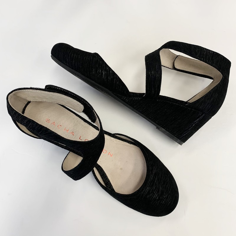 Sacha London Wedge Shoes<br /> Black Suede<br /> Size: 7