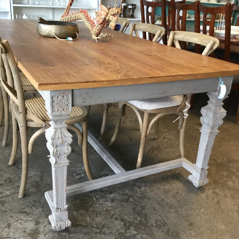 "Farmhouse Table, Grey Legs, Size: 43""X95""X31"""