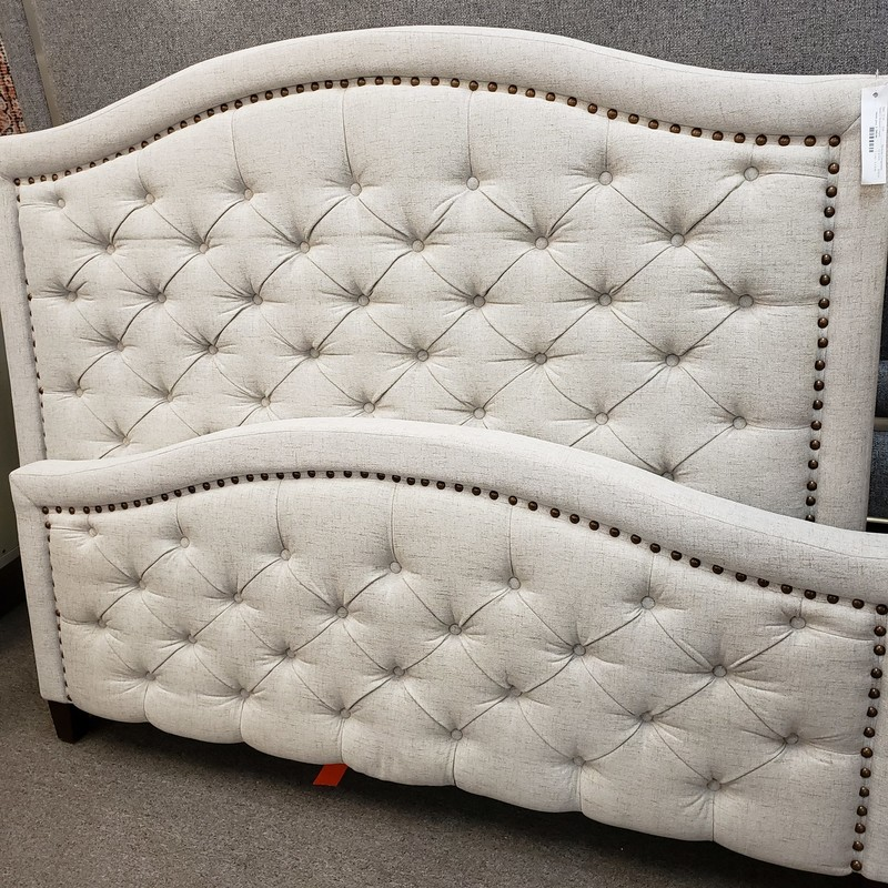 Queen Upholstered Complete Bed with headboard, footboard and rails