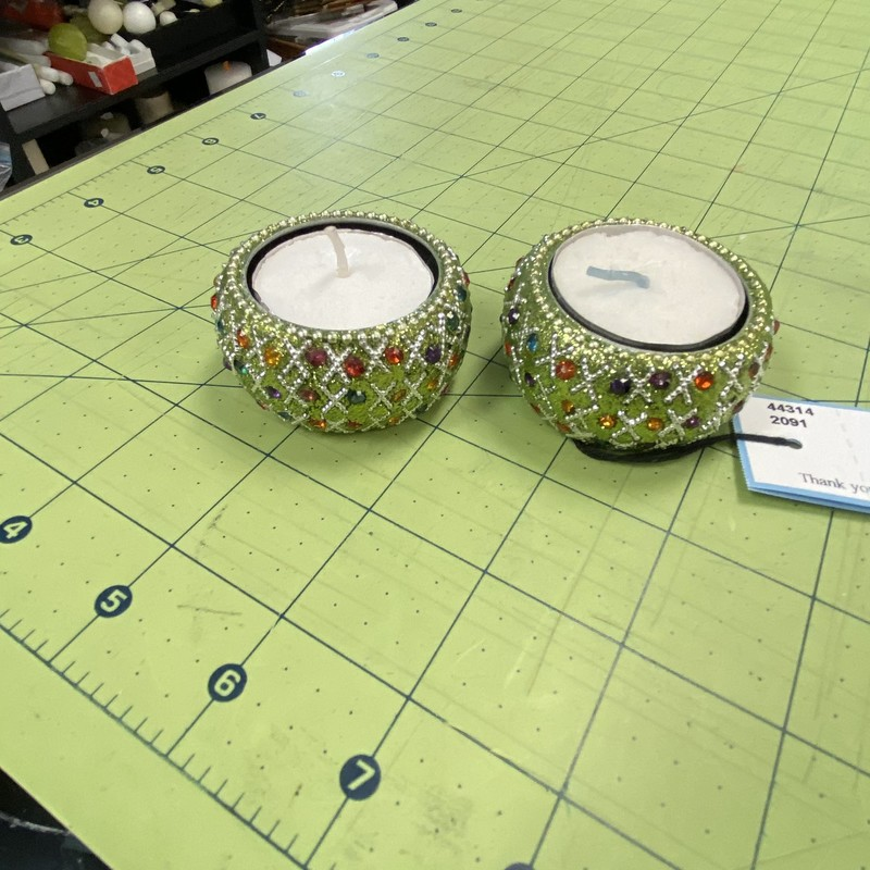 2 Sparkly Votive Holders.