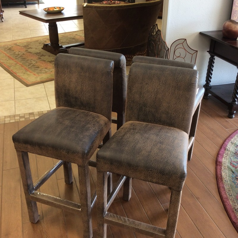 This is a very handsome set of barstools! Constructed of a soft, supple microfiber with a 2-toned animal skin pattern. Super comfortable and well-made!