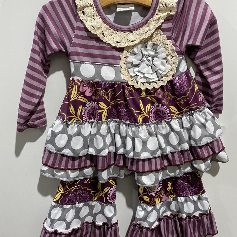 2pc Fashion Ruffle Set, Purple, Size: 3T Girl