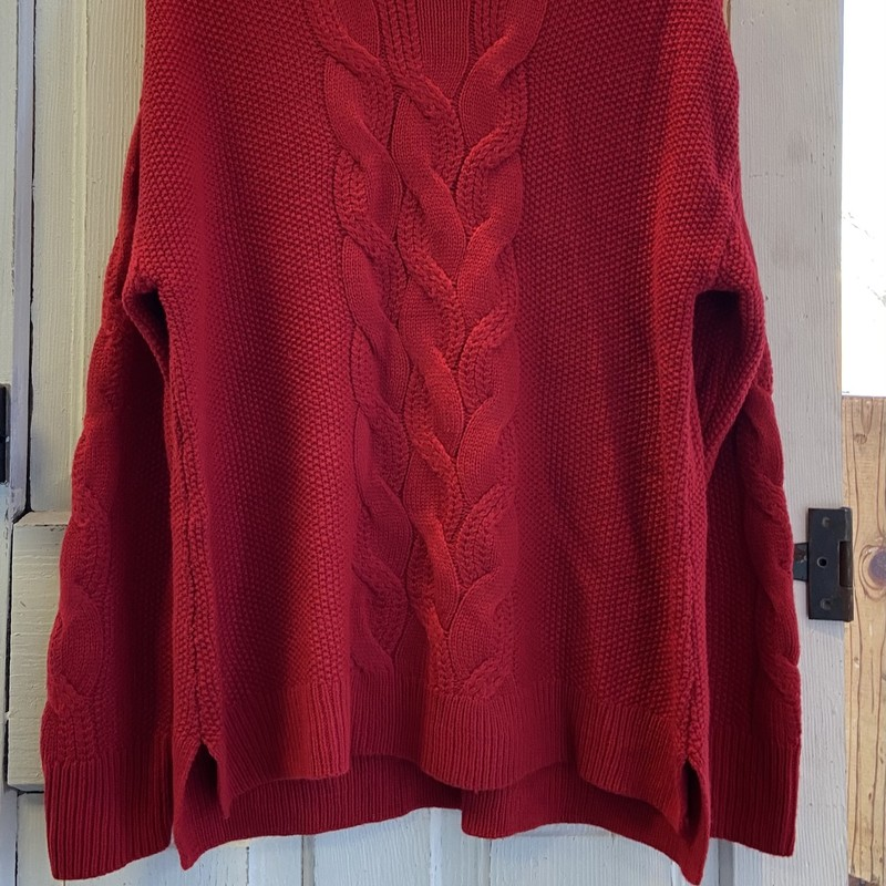 Red Cable Sweater.