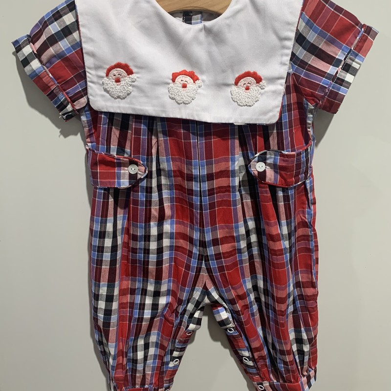 Plaid Santa Bubble, Red, Size: 2T Boy