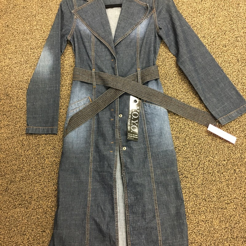 Denim Long Coat W/belt.
