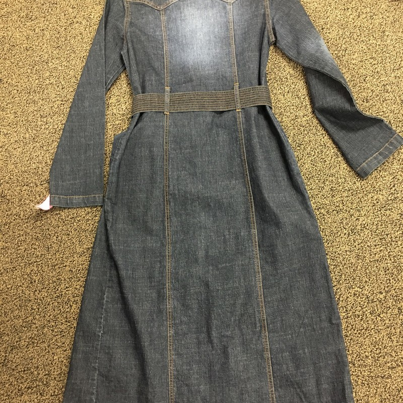 "Denim Long Coat W/belt, Denimblu, Size: S.  This will surely make a statement with the right ""stuff"" underneath.  You can wear a cat suit/jumpsuit or black leggins w/a black turtleneck and boots.  Look out, a really cool piece."