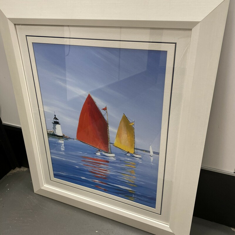 Sailboats Print, White, Size: 24x29 In