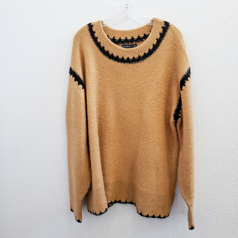 Zara Knit,<br /> Tan and Black Sweater<br /> Size Medium